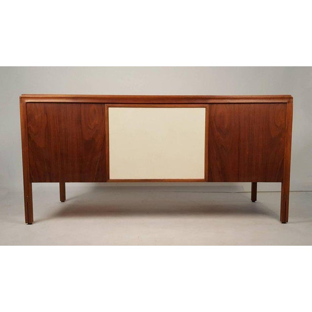 Gerry Zanck Walnut Campaign Desk with Leather Top and Drawers Gerry Zanck For Sale - Image 4 of 9