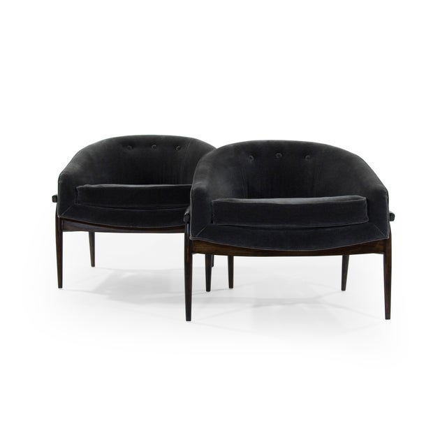 Mohair 1950s Milo Baughman Sculptural Mohair Barrel Lounge Chairs - a Pair For Sale - Image 7 of 12