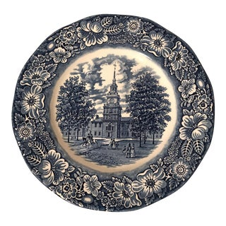 English Staffordshire Liberty Blue Dinner Plate For Sale