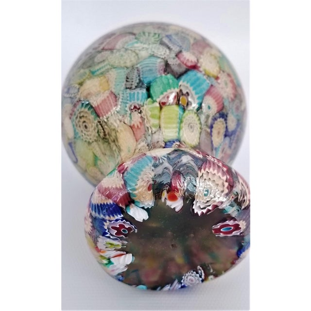 Art Glass Murano Glass Millefiori Paperweight by Gambaro & Poggi - Vintage Venetian Italian Italy Mid Century Modern MCM Palm Beach Boho Chic Vase Bowl For Sale - Image 7 of 13