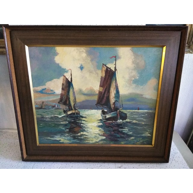 "1950s Mid-Century Modern Original ""Sail Boat Race"" Oil on Canvas Painting For Sale - Image 5 of 6"