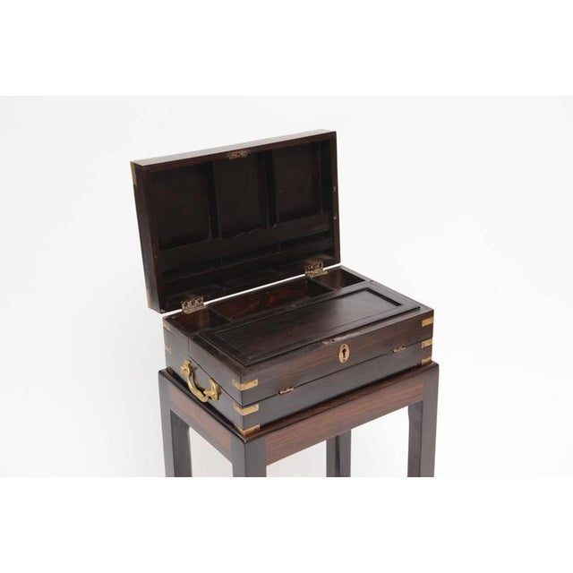 Late 19th Century British Campaign Rosewood Lap Desk on Custom Stand For Sale In Nantucket - Image 6 of 6