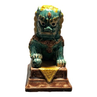 Vintage Foo Dog Ceramic Statue on Pedestal For Sale