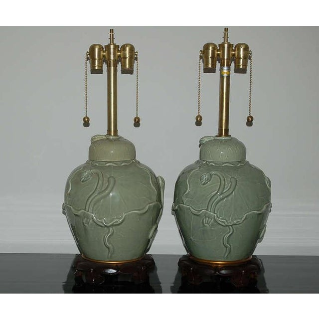Vintage Italian Porcelain CELADON table lamps by The Marbro Lamp Company. Applied floral vines crawl up and around each...