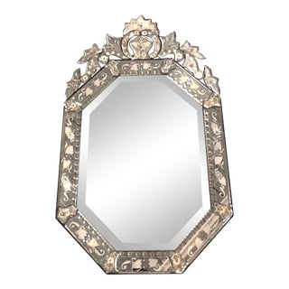 Antique Etched Glass Venetian Mirror For Sale