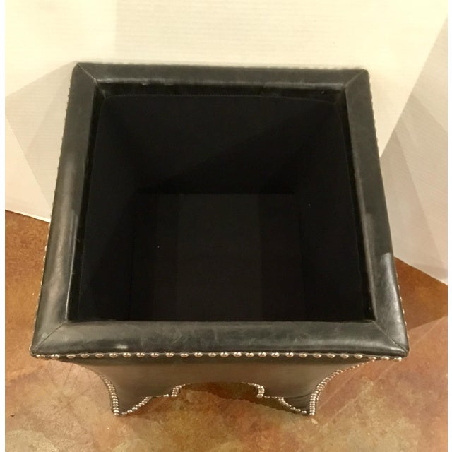 Empire Black Leather Empire Storage Stool For Sale - Image 3 of 6