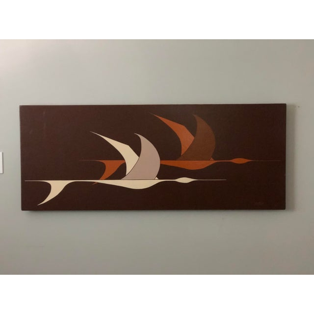 Brown Large Midcentury Painting of Flying Geese For Sale - Image 8 of 11
