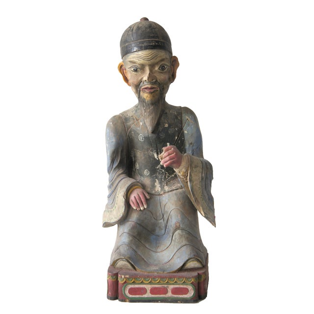 Late Qing Dynasty Carved Wooden Ancestor Sculpture - Image 1 of 3