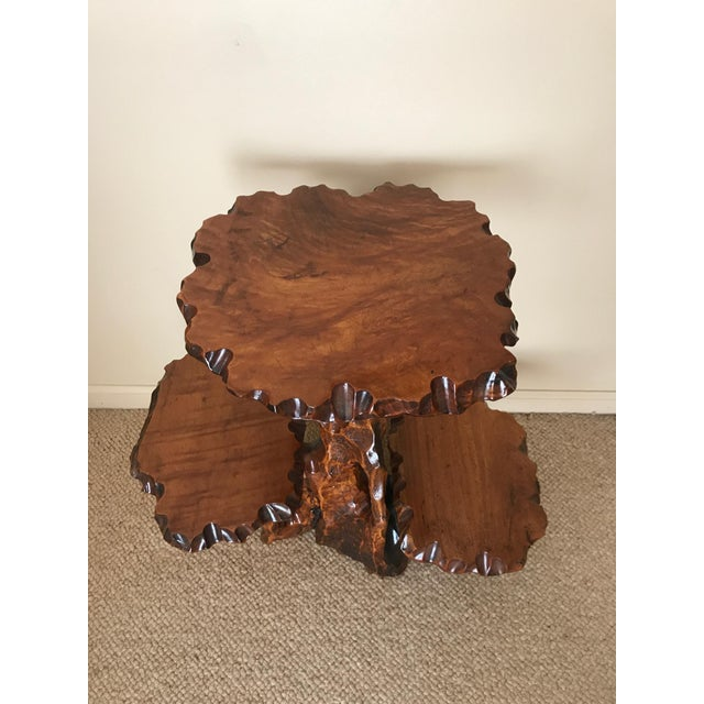 Burlwood Live Edge Side Table For Sale - Image 4 of 10