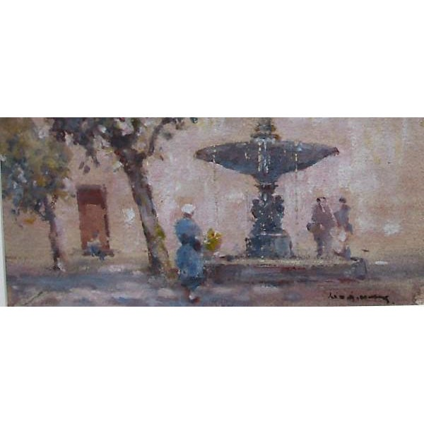 French The Village Fountain Painting For Sale - Image 3 of 4