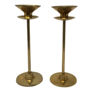 Vintage Mid-Century Brass Candle Holders - A Pair For Sale