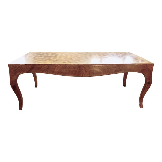 Lovely Marquetry Wooden Inlay Coffee Table For Sale