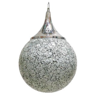 Crackled White Glass Pendants by Fabio Ltd (4 Available) For Sale