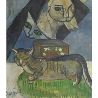 French Oil Painting - the Cat's Meow For Sale