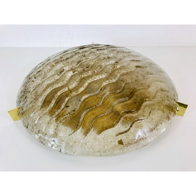 1960s Mid-Century Modern Round Brass and Iceglass Flushmount by Kaiser Leuchten, Germany For Sale - Image 6 of 9