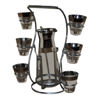 Corning Inc. 1950s Modern Wide Silver Fade Band Rim Martini Cocktail Set - 9 Pc. Set For Sale