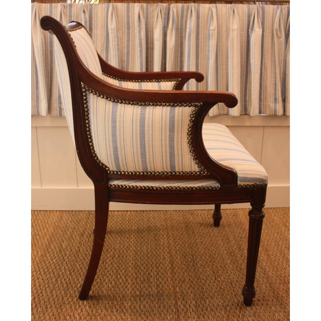 Vintage Blue & White Striped Nailhead Chair For Sale - Image 9 of 9