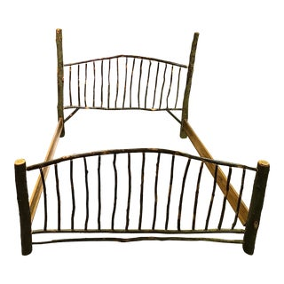 Rustic Amish King Sized Log Bed Frame For Sale