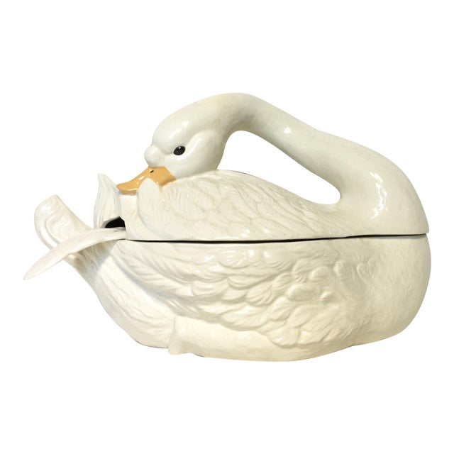 Ceramic Swan Soup Tureen For Sale