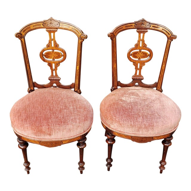 19th Century American Upholstered Renaissance Revival Walnut Chairs-a Pair For Sale