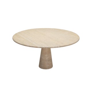 Angelo Mangiarotti Round Travertine Dining Table For Sale