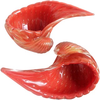 Alfredo Barbini Murano Orange Gold Flecks Italian Art Glass Seashell Bowls For Sale
