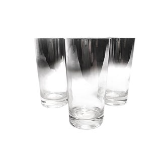 1960s Mid-Century Ombré Silver Mercury Tumbler Glasses - Set of 3