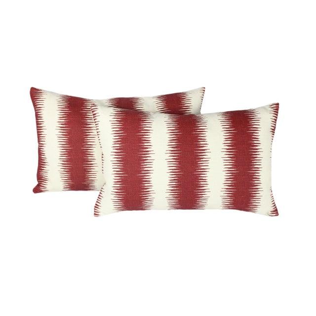 """2020s Peter Dunham's Ikat """"Pasha"""" Linen Lumbar Pillow Pair For Sale - Image 5 of 5"""