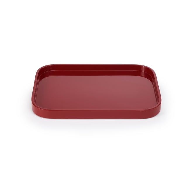 Contemporary Miles Redd Collection Small Stacking Tray in Garnet Red For Sale - Image 3 of 3