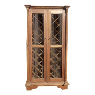 Antique Teak Wood Rustic Indonesian Style Wine Rack Cabinet For Sale