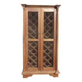Teak Wood Rustic Spanish Style Wine Rack Cabinet For Sale