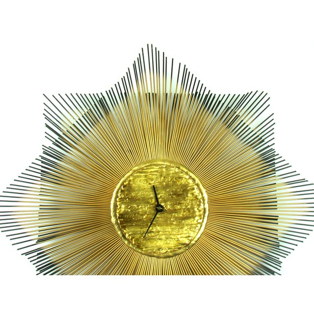 Signed Mid-Century Modern George Nelson Style Brass Sunburst Wall Clock - Image 4 of 10