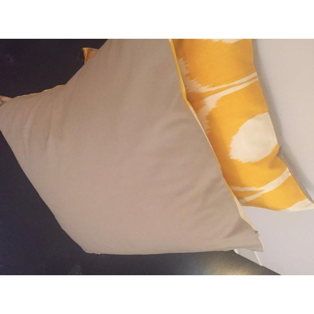 Hand Dyed Yellow Ikat Pillows - A Pair For Sale - Image 4 of 4