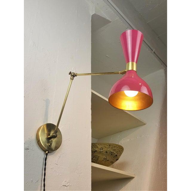 Blueprint Lighting Italian Modern Brass & Enamel Sconce *Custom Colors* - Image 2 of 8