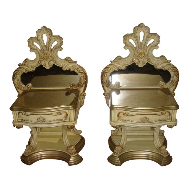 Hollywood Regency Mirrored Commodes - a Pair For Sale