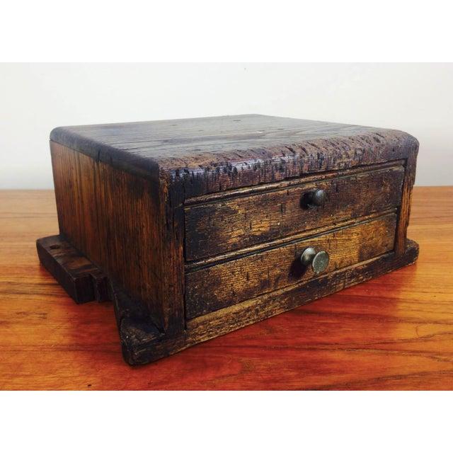 Primitive 1930's Primitive LockSmith Wood 2 Drawer Cabinet For Sale - Image 3 of 6