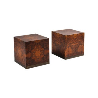Burl Square Side Tables by Jean Claude Mahey - 1970s For Sale