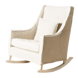 Mid-Century Modern Style Courtney Linen-Upholstered Club Rocker For Sale