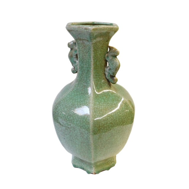 Asian Ceramic Crackle Pattern Hexagon Celadon Green Vase For Sale - Image 3 of 6