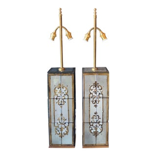 Mirrored Column Lamps in Jansen Style - a Pair For Sale