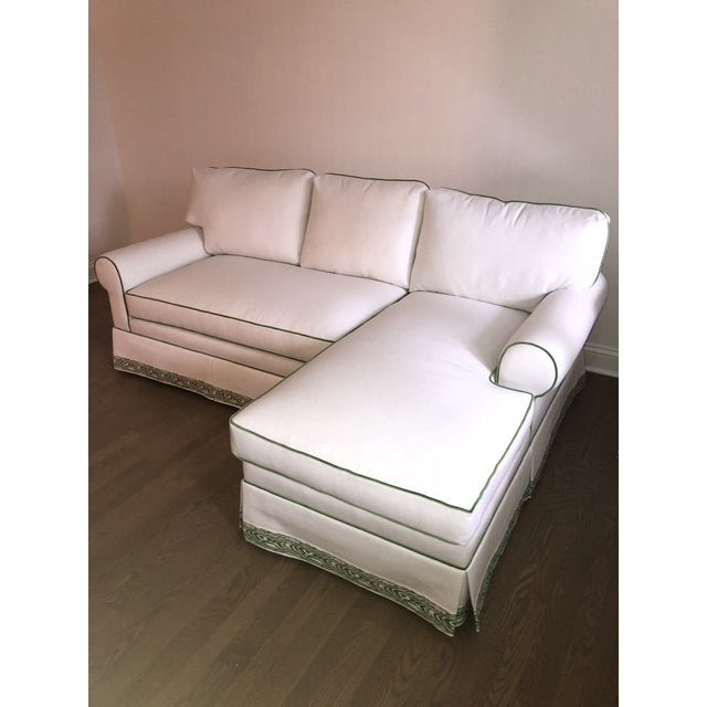 Contemporary Custom White Cripton Sectional With Green Piping and Trim For Sale - Image 3 of 9