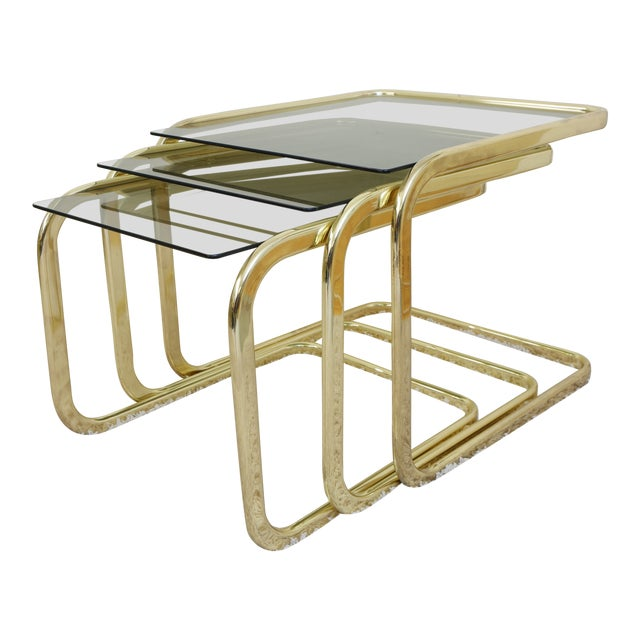 1970s Mid Century Modern Gold Steel Nesting Tables - Set of 3 For Sale