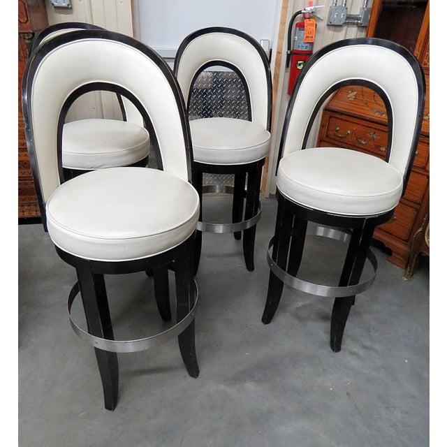 Black Mid-Century Modern Swiveling Bar Stools - Set of 4 For Sale - Image 8 of 8