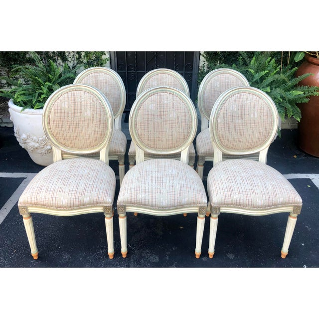 Set of 6 French Louis XVI Balloon Back Dining Chairs For Sale - Image 4 of 10