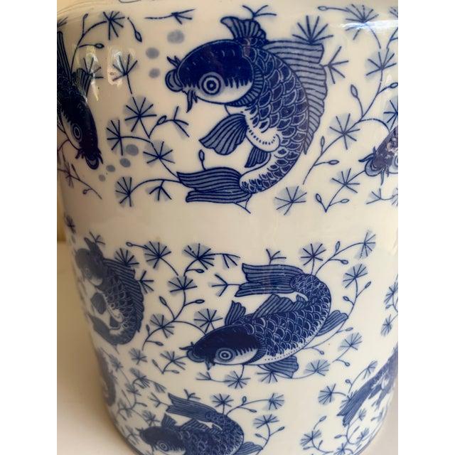 2000 - 2009 Blue & White Asian Koi Fish Ceramic Vase For Sale - Image 5 of 9