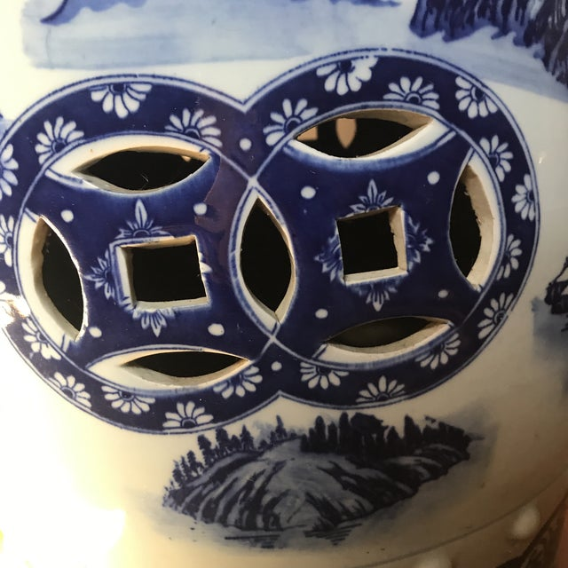 Ceramic Vintage Chinese Blue & White Porcelain Garden Stool For Sale - Image 7 of 8
