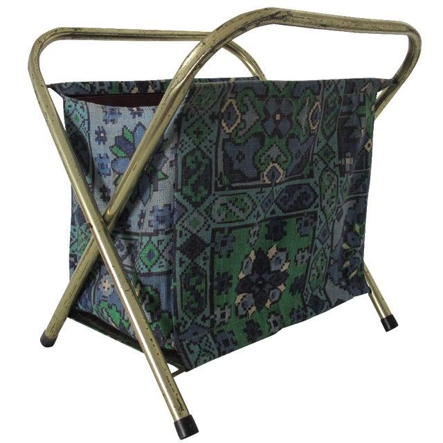 Mid-Century Fabric Magazine Rack For Sale