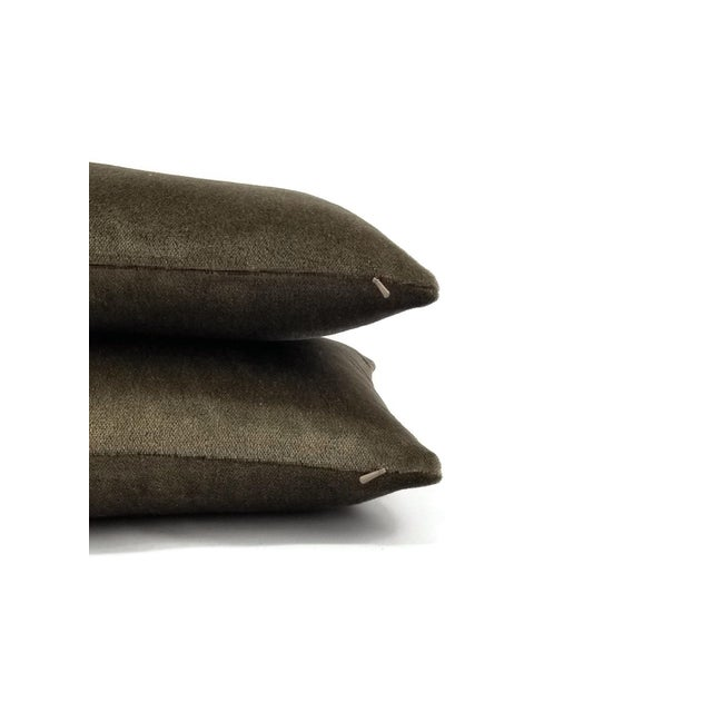 2010s F. Schumacher Palermo Mohair Velvet Thyme Lumbar Pillow Cover For Sale - Image 5 of 6