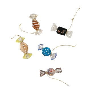 Blown Glass Candy Ornaments, S/5 For Sale
