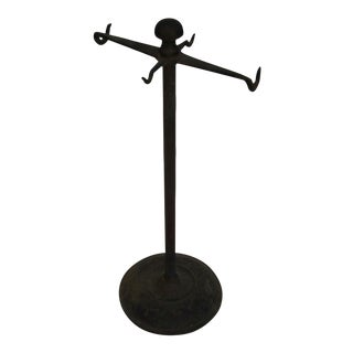 Rustic Industrial Iron Jewelry Display Stand For Sale